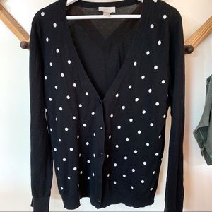 Loft Large Black Cardigan with White Polka Dots